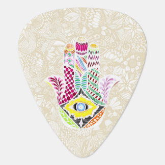 Artistic Hand Drawn Hamsa Hand an Floral Drawings Plectrum