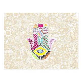 Artistic Hand Drawn Hamsa Hand an Floral Drawings Postcard