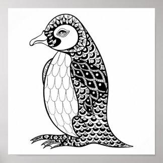 Artistic King Penguin Zendoodle 2 Poster