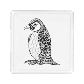 Artistic King Penguin Zendoodle Acrylic Tray