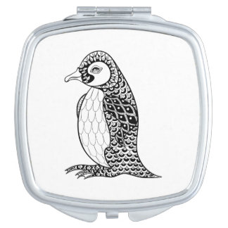 Artistic King Penguin Zendoodle Compact Mirrors
