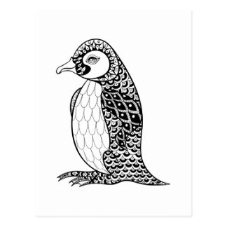 Artistic King Penguin Zendoodle Postcard