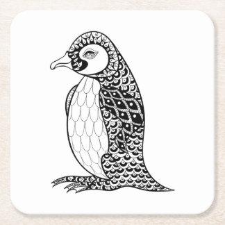 Artistic King Penguin Zendoodle Square Paper Coaster