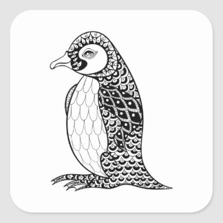 Artistic King Penguin Zendoodle Square Sticker