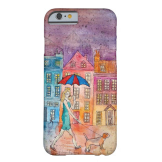 Artistic Lady Walking Dog iPhone 6 Phone Case