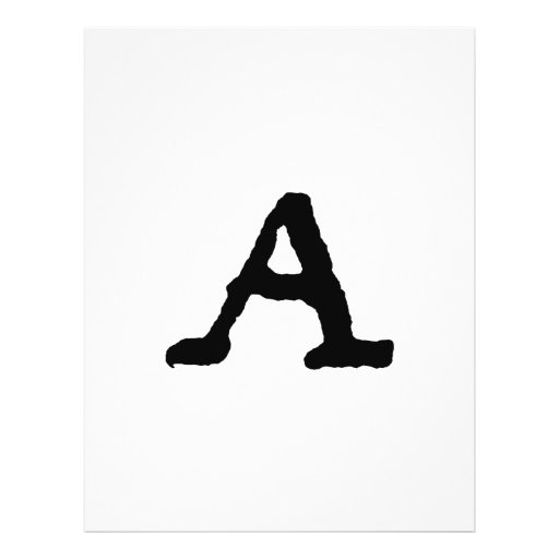 "Artistic Letter ""A"" Woodcut Woodblock Initial Custom Flyer"