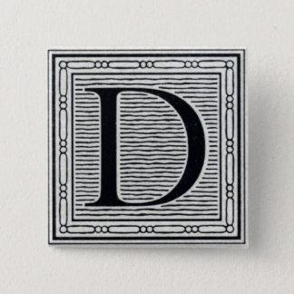 "Artistic Letter ""D"" Woodcut Woodblock Initial 15 Cm Square Badge"