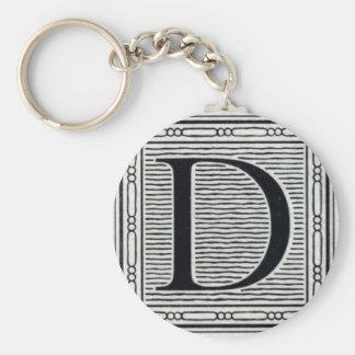 "Artistic Letter ""D"" Woodcut Woodblock Initial Key Ring"