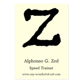 """Artistic Letter """"Z"""" Hand Lettered Style Initial Business Card Template"""