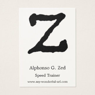 "Artistic Letter ""Z"" Hand Lettered Style Initial Business Card"