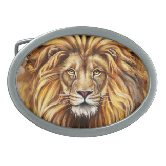 Artistic Lion Face Oval Belt Buckle