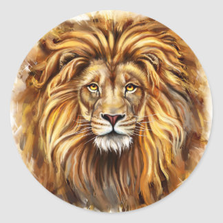 Artistic Lion Face Round Stickers