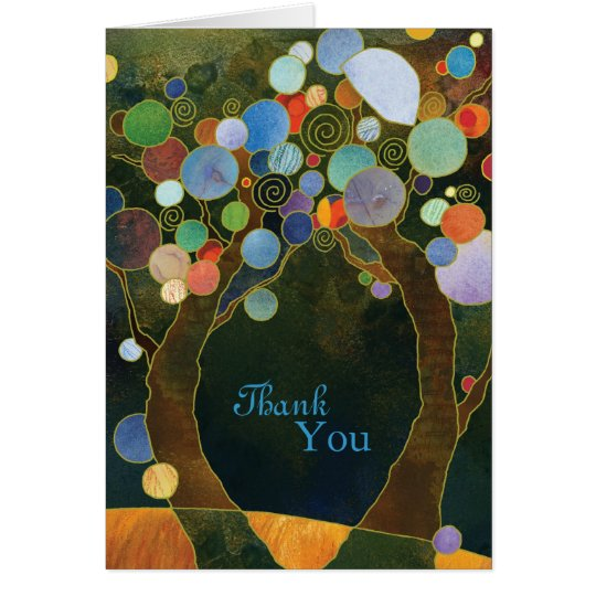 Artistic Love Trees Wedding Thank You Card