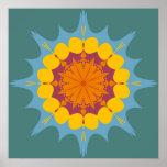 Artistic mandala in yellow, purple, blue print