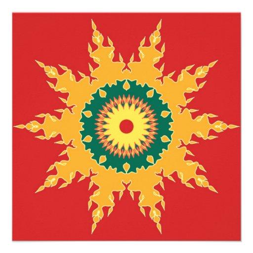 Artistic mandala on red personalized invitations