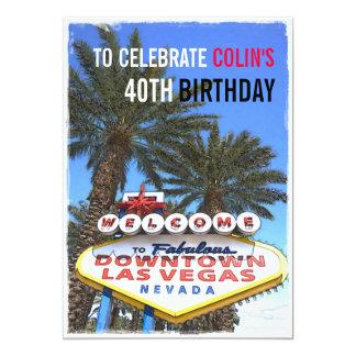 Artistic Modern Las Vegas Modern Birthday Party Card