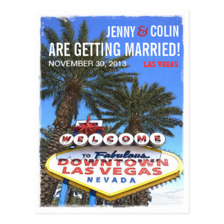 Artistic Modern Las Vegas Photo Save The Date Postcard