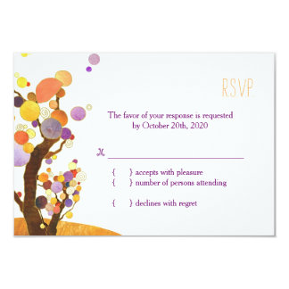 Artistic, Modern Trees Fall Wedding RSVP 9 Cm X 13 Cm Invitation Card