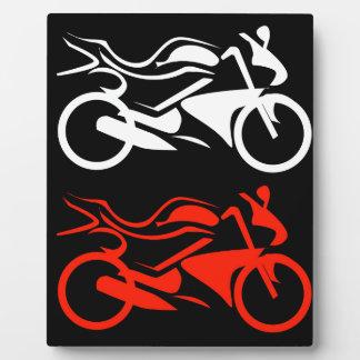 Artistic motorbike graphic display plaque