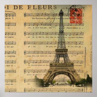 Artistic music notes Paris Eiffel Tower Poster