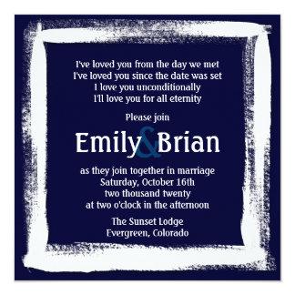 Artistic navy blue white paint wedding invitations