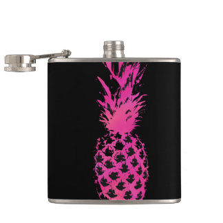 Artistic neon pink and black watercolor pineapple hip flask