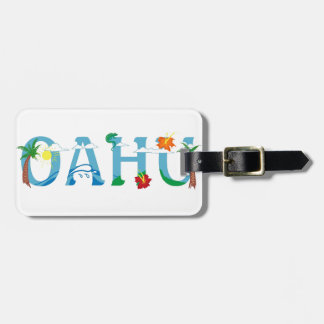 Artistic Oahu Hawaii word art luggage tag