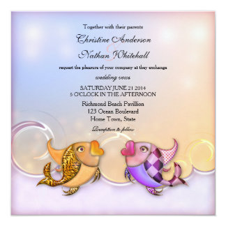 Artistic Ocean Fish Wedding Invitation