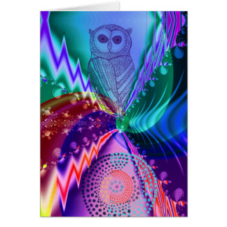 Artistic Owl custom birthday text Greeting Card