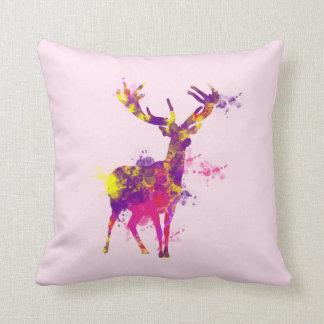 Artistic Paint Splatter Stag Deer Cushion