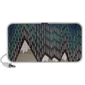 Artistic Pattern Blue Rainy Shaped Mountains Print Mini Speaker