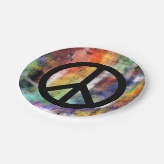 Artistic Peace Sign Paper Plate