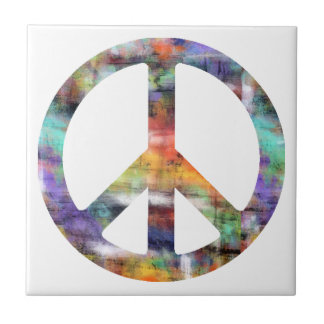 Artistic Peace Sign Tile