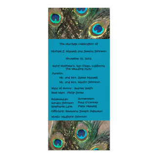 Artistic Peacock Wedding Program 10 Cm X 24 Cm Invitation Card