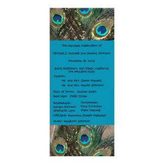 Artistic Peacock Wedding Program Announcement