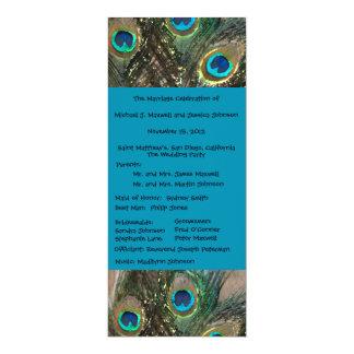 Artistic Peacock Wedding Program 10 Cm X 24 Cm Invitation Card