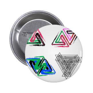 Artistic pen rose triangles 6 cm round badge