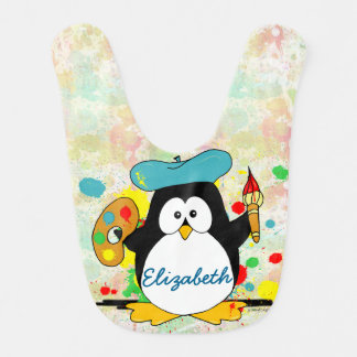 Artistic Penguin Painter Personalize Bib