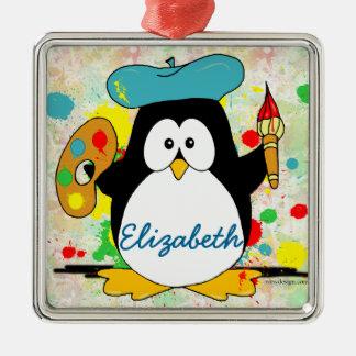 Artistic Penguin Painter Personalize Christmas Ornament