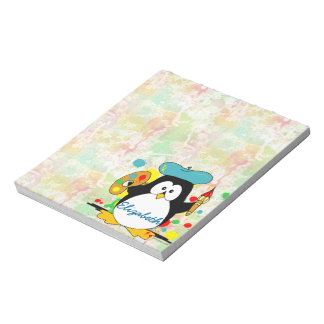 Artistic Penguin Painter Personalize Notepad