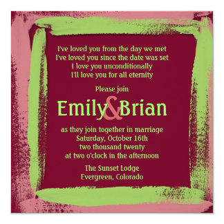 Artistic pink green painted wedding invitations