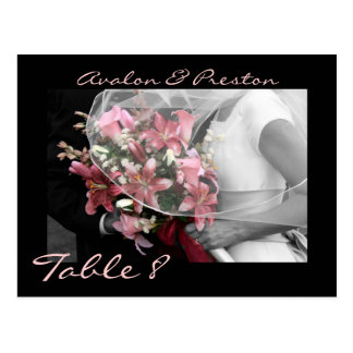 Artistic Pink Tiger Lily Floral Wedding Table Card Postcard
