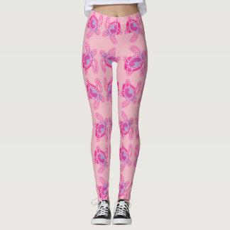 Artistic Pink Turtle Leggings