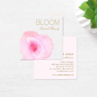 Artistic Pink Watercolor Floral  Square Square Business Card
