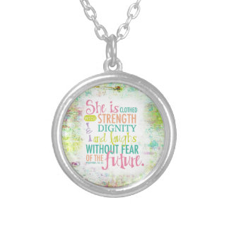 Artistic Proverbs 31:25 Round Pendant Necklace