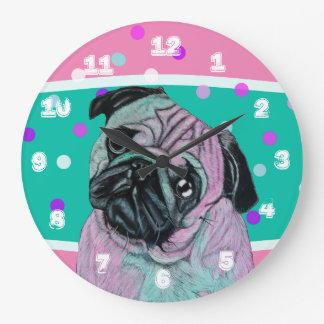Artistic Pug Dog in pink and green turquoise Large Clock