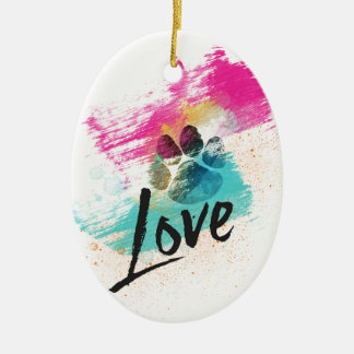 Artistic Puppy Love Christmas Ornament