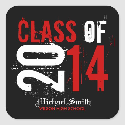 Artistic Red, Black and White Class of 2014 Square Sticker