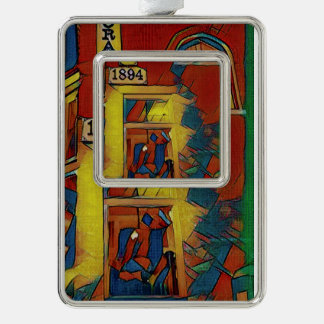 Artistic Red Green Yellow Historical Building Silver Plated Framed Ornament