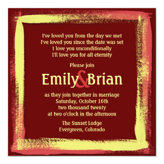 Artistic red yellow painted wedding invitations